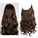 SARLA Halo Hair Extensions Long Wavy Curly Synthetic Hair Piece for Women Adjustable Size Transparent Wire Headband Heat Friendly Fiber 22 Inch 5.3 Oz No Clip