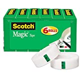 Scotch Brand Magic Tape, Standard Width, Numerous Applications, Invisible, Designed for Office and Home Use, 3/4 x 1000 Inches, Boxed, 6 Rolls (810K6)