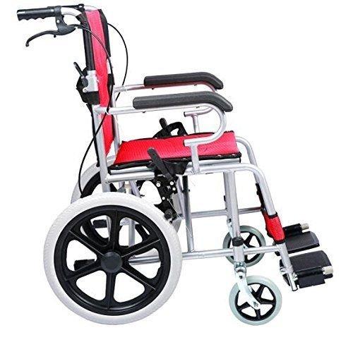 Foldable Lightweight Manual Transport Medical Wheelchair Red 24-lb 2018 Best Model