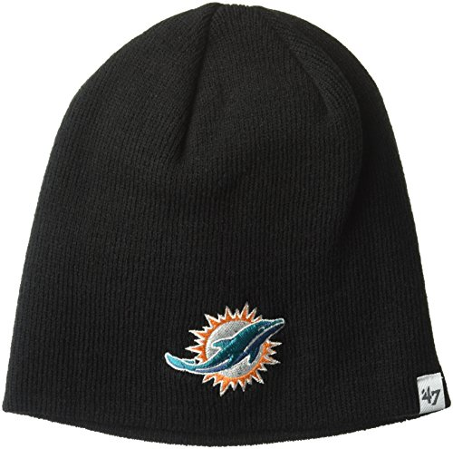 NFL Miami Dolphins '47 Beanie Knit Hat, Black, One (Nfl Knit Hat)