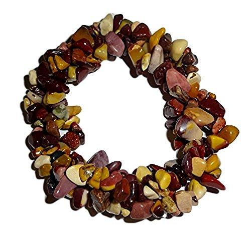 1pc Natural Mookaite Jasper Crystal Healing Triple Twist Braided Chip Gemstone 7 Inch Stretch Bracelet
