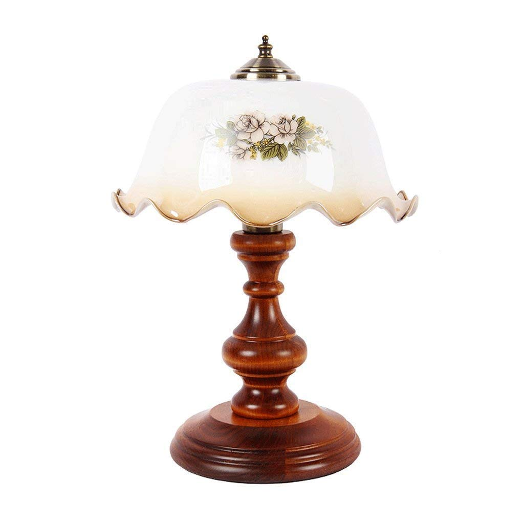 Amazon.com: ChuanHan Ceiling Fan Light Chandelier Lightings Table Lamp Creative Retro Glass Flower Table Solid Wood Button Switch Bedside Bedroom Table E27: ...