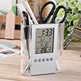 Desk Pen Holder Alarm Clock LCD Digital Clock Display Thermometer Time Date Calendar Home Office School Supply for Student Children Worker(Clear)