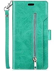 URFEDA Kompatibel med Galaxy S8 Plus telefonskal skal nio kortfack plånbok PU-läder fodral med dragkedja folio flip bokstil skyddande stötfångare stöttålig magnetisk dragkedja plånbok fodral, grön