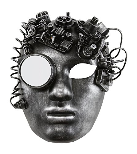 Rustic Mens Costumes (KAYSO INC The Black Smith Victorian Steampunk Bauta Full Face Masquerade Mask (Rustic Silver))
