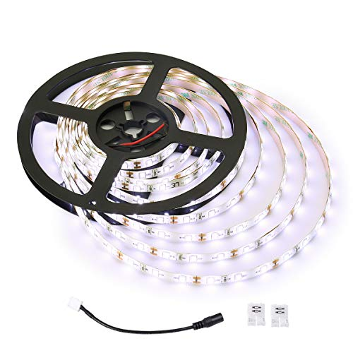 LE 12V LED Strip Light, Flexible, Waterproof, SMD 2835, 16.4ft Tape Light for Home, Kitchen, Under Cabinet and More, Daylight White