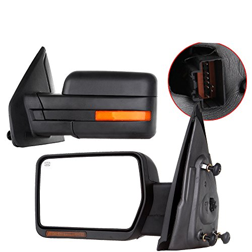 Scitoo Towing Mirrors, fit Ford Exterior Accessories Mirrors fit 2007-2014 Ford F-150 Truck with Amber Turn Signal and Puddle Light Heated Power Controlling and Manual Folding (Pair)