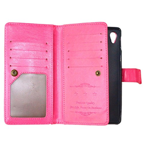 Funda para Sony Xperia M4 Aqua, Sony Xperia M4 Aqua Funda de PU cuero resistente Folding Stand Flip Funda Carcasa Caso con 9 ranura,Sony Xperia M4 Aqua Leather Case Wallet Protector Card Holders, Ukay Rose Red