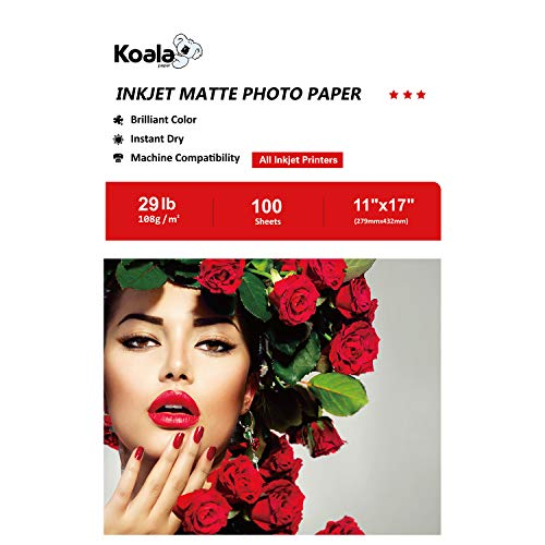 - Koala Matte Photo Paper 100 Sheets 11X17 Inches 108gsm Compatible with Inkjet Printer