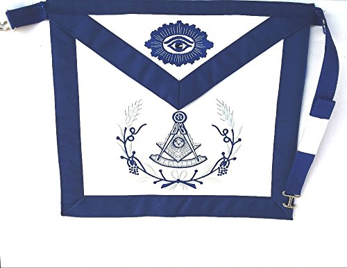 D3010W Apron Masonic Past Master in Blue and Silver with Wreath by DEAN & ASSOCIATES