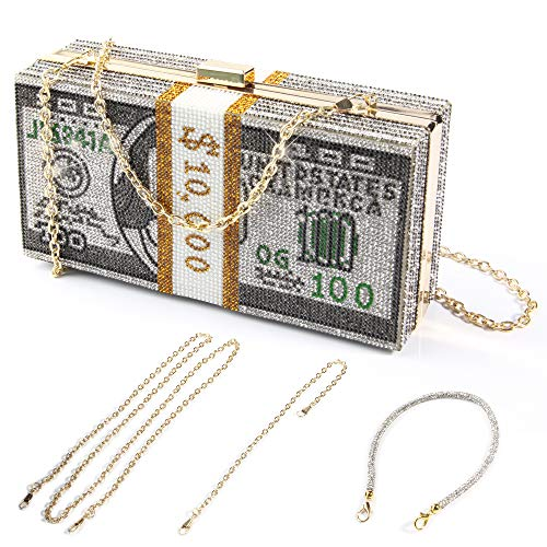 Money Clutch Purses for Women, Stack of Cash Dollars Crystal Clutch Purses