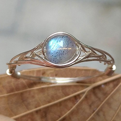 12(5-12 Available) Natural Moonlight Labradorite 925 Sterling Silver String Winding Bead Ring Women Handmade by GRB ROY