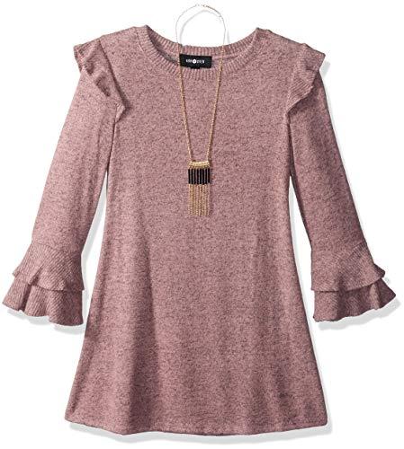 Amy Byer Big Girls' Bell Sleeve Fuzzy Knit a-Line Dress, Mauve, S -