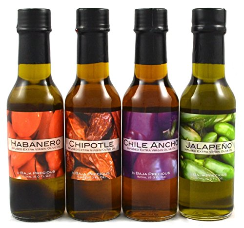 Infused Chipotle - Infused Olive Oil Quartetto: Habanero, Chipotle, Ancho, Jalapeno (Pack of 4 x 150ml Bottles)