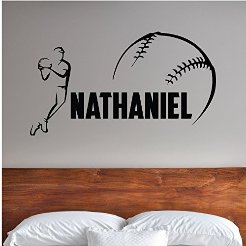 Custom Boys Name Baseball Player. -0280- Personalized Boys Baseball Wall Decal - Baseball Theme Wall Decal