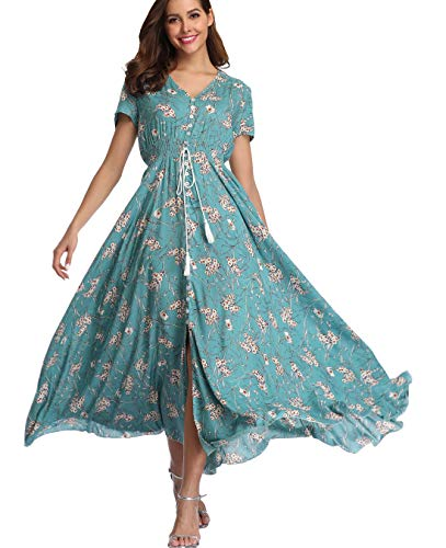 Ferrendo Summer Women's Floral Maxi Dress Button Up Split Flowy Bohemian Party Beach Dresses Turquoise (Turquoise Maxi Dress Plus Size)