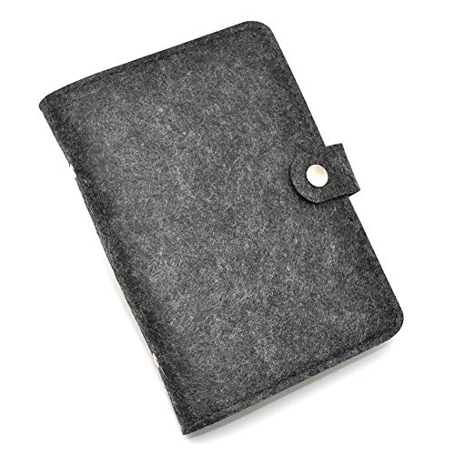 A5-6 Ring Binder Cover,Wool Felt Refillable Journal-Notebook-File Folder Cover with Index Dividers and Card Pocket for 2018-2019 Trip Planner/Travel Diary/Holiday Gift(Dark Gray)