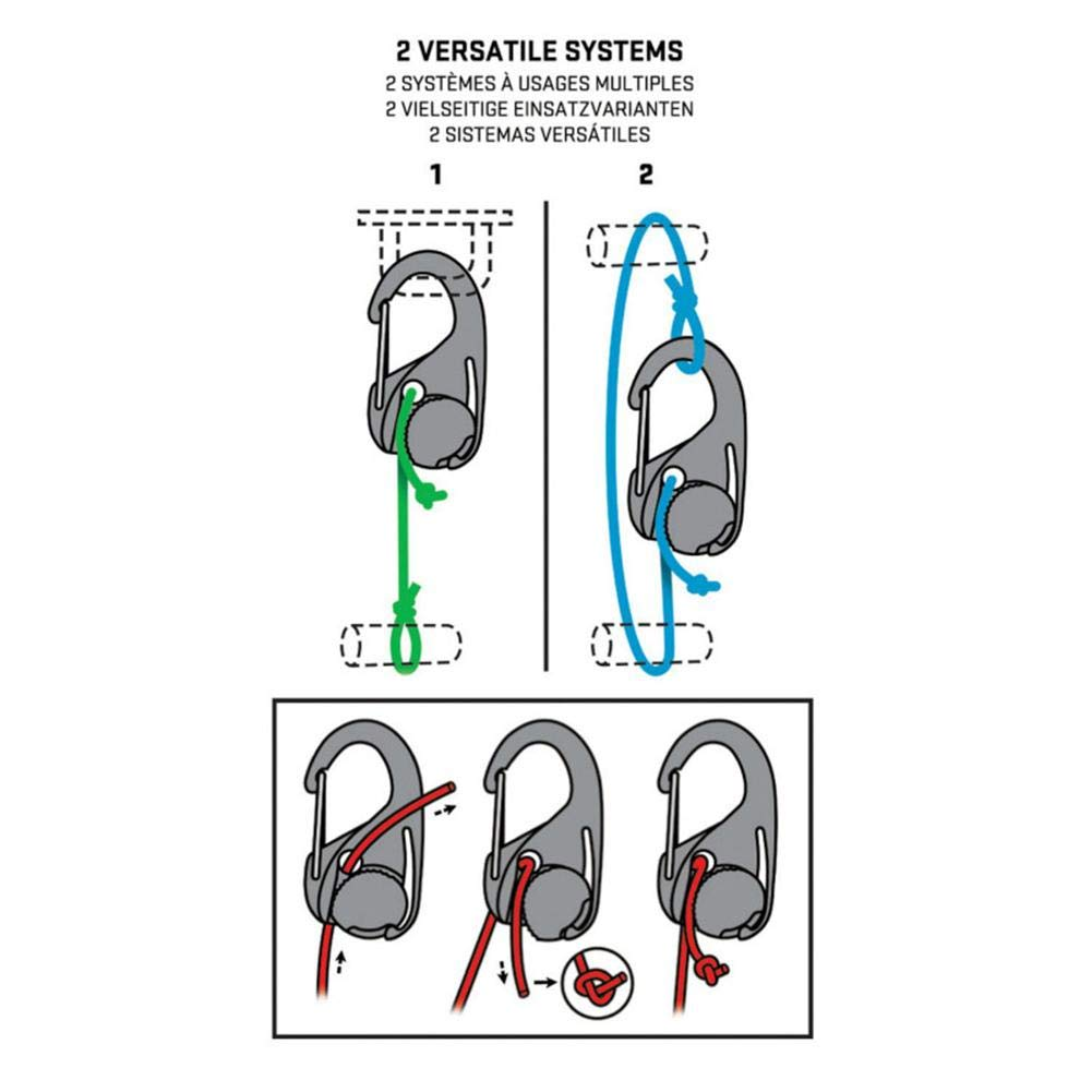 CampHiking Cord Hook 2PCS Lanyard Hook with Rope Legatura Portatile Strumento Fisso Tent Travel Assistant Tightener Lega Leggera in plastica Connecter con moschettone Clip e Cavo