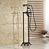 Votamuta Two Handles Freestanding Contemporary Floor Mount Tub Filler with Hand Shower Oil Rubbed Bronze