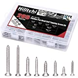 Hilitchi 285-Piece Stainless Steel Phillips Flat Head Self Tapping Screw Assortment Kit (Flat Head)