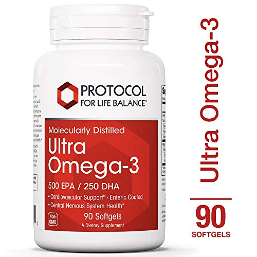 Protocol For Life Balance - Ultra Omega-3 (500 EPA / 250 DHA) - Supports Cardiovascular and Cognitive Function, Healthy Heart, Brain, Joints, Mood, & Skin and Hair - 90 Softgels
