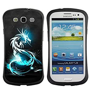 Fuerte Suave TPU GEL Caso Carcasa de Protección Funda para Samsung Galaxy S3 I9300 / Business Style Blue Shine Tribal Dragon