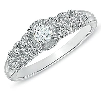0e833e69aec6eb Image Unavailable. Image not available for. Color: Luscious Antique Cheap Engagement  Ring 0.50 Carat Round Cut Diamond on Gold