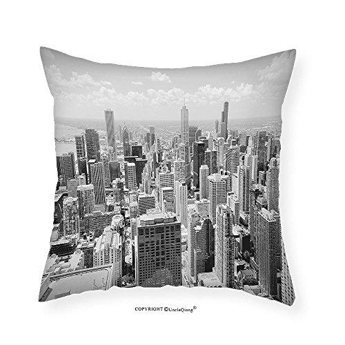 VROSELV Custom Cotton Linen Pillowcase Apartment Decor Collection Chicago Skyline Aerial View Contemporary Famous Touristic Places Picture Bedroom Living Room Dorm - Hamilton Place Directions