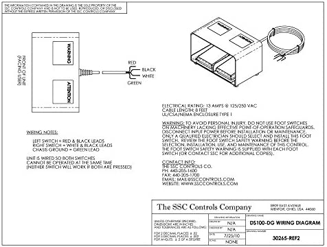 SSC Controls DS100-DG Dual Foot Switch with Guard, Electrical, Momentary  Action, Two Pedal, 8-ft Cable with Leads, Twin Pedal, Left/Right, Up/Down,  or Forward/Reverse: Amazon.com: Industrial & Scientific | Spdt Switch Wiring Diagram Foot |  | Amazon.com