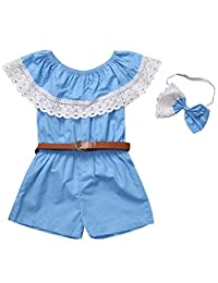 Mapletop Off Shoulder Lace Romper Belt For Family Mommy Me Baby Girl