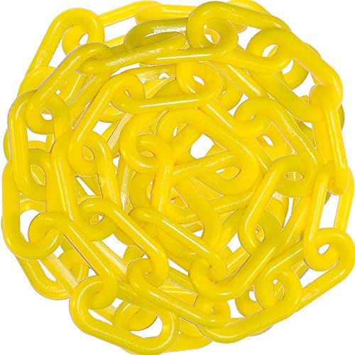 (Mr. Chain Heavy Duty Plastic Barrier Chain, Yellow, 2-Inch Link Diameter, 50-Foot Length)