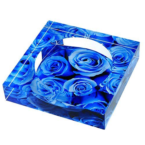 Max&Mix Fashion Crystal Cigar Ashtray Living Room Ash Tray Holder Cigarettes for Home Office Tabletop Decoration,Gift Ashtray,Smoker,10CM,Blue Rose (Tobacco Pipe Confederate)