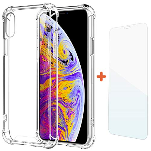Comet Crystal - COMET iPhone Xs Max Case, Free Screen Protection Tempered Glass, TPU Crystal Clear Shockproof Protective Air Cushion Bumper Cover with Reinforced Corners, 6.5 inch (Transparent) (Clear)