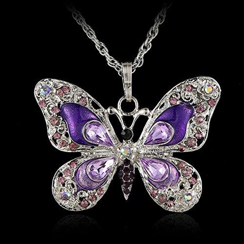 Aysekone Beautiful Alloy Rhinestone Butterfly Long Necklaces Sweater Necklace Fashion Enamel Butterfly Necklace for Women GirlsPurple
