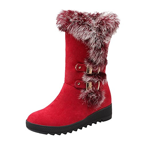 Mee Shoes Womens Sexy Nubuck Faux Fur Snow Boots Red 6fmNVvAJ