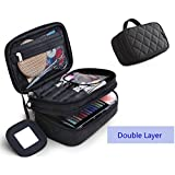 "ONEGenug Cosmetic Makeup Bag & Organizer Double Layer Dot Pattern Travel Toiletry Bag Organizer With Small Mirror 7.87 ""x 4.72 "" x 3.15 "" (Black)"