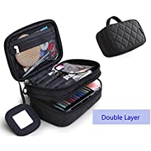 ONEGenug Cosmetic Makeup Bag & Organizer Double Layer Dot Pattern Travel Toiletry Bag Organizer With Mirror (Black)
