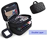 ONEGenug Cosmetic Makeup Bag & Organizer Double Layer Dot Pattern Travel Toiletry Bag Organizer With Mirror,Size S Black