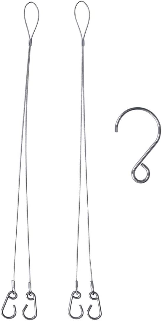 Boundless Voyage 16.5inch Hanging Chain Rope Hanging Wire with 5PCS Hooks for Grill Pot Planters Basket Outdoor Indoor Ti15149B