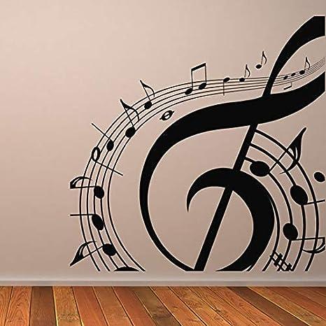 yaonuli Símbolo Musical Etiqueta de la Pared Música Etiqueta de la Pared Decoración del hogar Mural extraíble Sala de Estar Decoración de la habitación de los niños 63X52cm