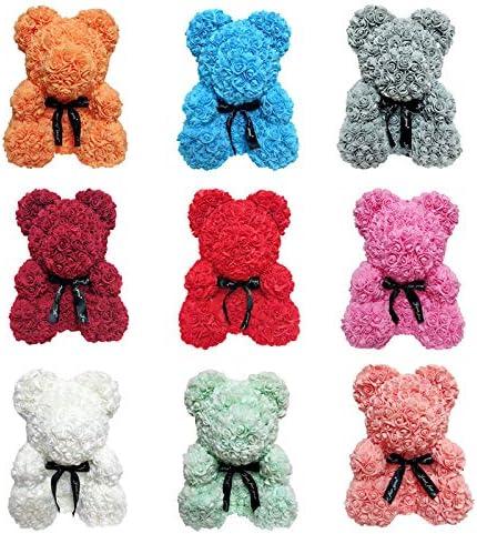 1 PC Teddy Bear Pour Toujours Roses Rose Artificielle Rose Romantique Ours En Mousse Poup/ées Anniversaire De No/ël Valentines Cadeau D/écorations size Heart Blue Heart