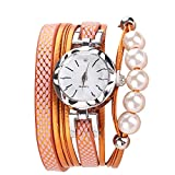 Women Quartz Watch,Lovewe CCQ Women Fashion Casual Analog Quartz Women Rhinestone Pearl Bracelet Watch (A)