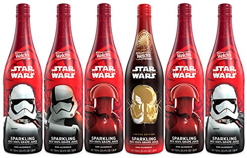 Welch's Sparkling Red 100% Grape Juice, Non-Alcoholic, Star Wars, 25.4 Ounce Bottles (Pack of 6)