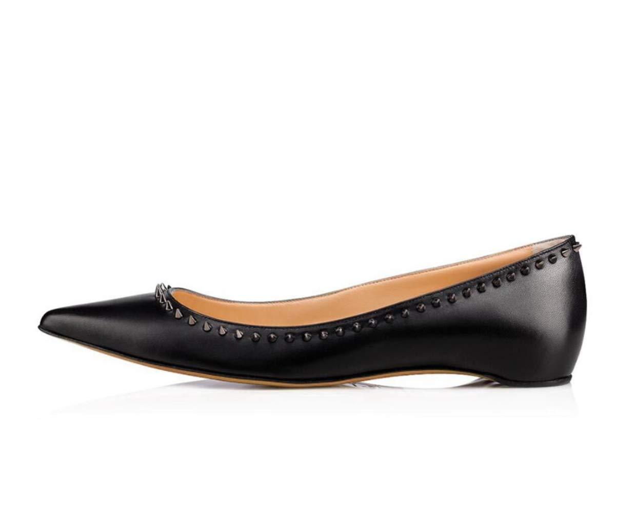 best authentic 0aa7c 7ca76 Shiney Femmes Bouche Bouche Bouche Peu Profonde Rivet Plat Chaussures  Simples Loisirs Vacances MarcherB07H1F24YVParent f54349