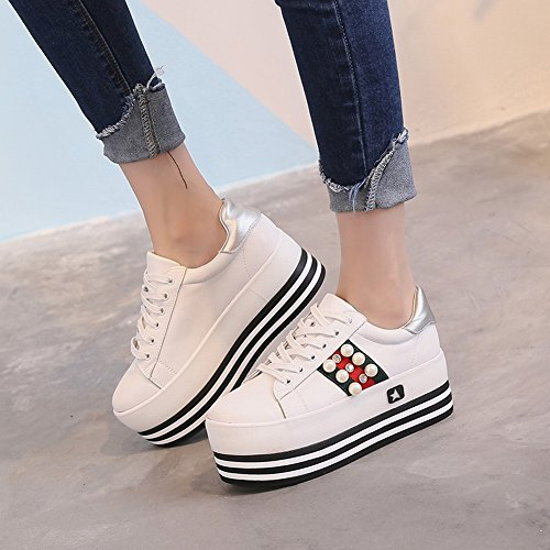 Zapatos de Mujer de Fondo Grueso Redondo con un Pequeño Fondo de Zapatos Blancos Pequeños , blanco , EUR35