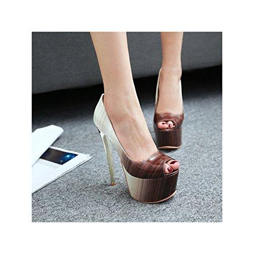 OCHENTA Mujer Cabeza de Pescado Zapatos de Tacón Alto Atractivos del Club del Partido Marrón