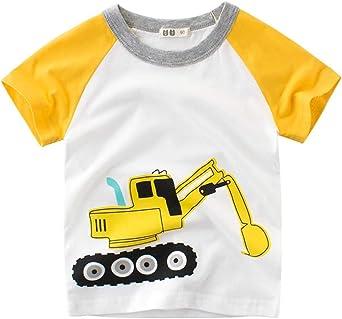 Askong - Camiseta de Manga Corta para niños con Estampado de Excavadora de algodón para niños de 1 a 10 años: Amazon.es: Ropa y accesorios