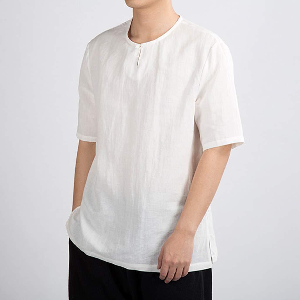 YAYUMI Short Sleeve T-Shirts,Mens Summer Casual Pure Color Cotton Linen Short Sleeve T-Shirts Top Blouse