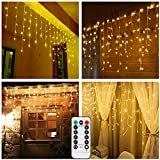 Battery Operated Snowing Icicle String Lights Outdoor,9.8ft Width,150 LED,Warm White Window Wall Wave Curtain Lights for Holiday Wedding Backdrop Christmas-Remote,Timer,Dimmable,8 Mode,Waterproof