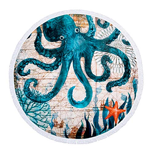 FLY SPRAY Round Beach Towel Oversized Thick Blanket Tassels 59'' Indian Creative Marine Theme Sea Pattern Super Water Absorbent Muti-Purpose Soft Microfiber Camping Picnic Vacation Mat Octopus
